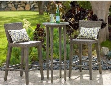 Outback Company Manzano All Weather Wicker Bar Height Patio Bistro Set  Contemporary Patio Furniture And