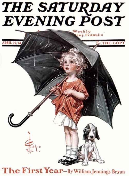 "J. C. Leyendecker - The Saturday Evening Post Magazine cover (April 25, 1914) ""April Showers"""