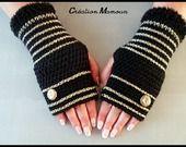 "Mitaines crochetées mains ""Gold and Black"" : Mitaines, gants par mamountricote"