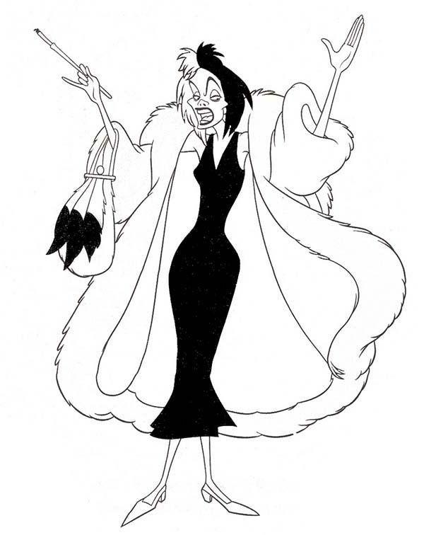 Cruella De Vil Coloring Pages Disney Character Art Disney Villains Coloring Pages