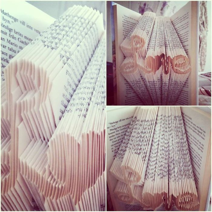 Vik konst i böcker Ett riktigt finurligt pyssel är att ta vara på böcker du inte komma läsa igen och återbruka dessa till konstverk. Eller köp böcker billigt på loppis om du håller alla dina böcker…