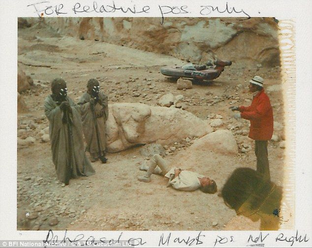 Ann Skinner used this photo of Luke Skywalker lying on the ground to help maintain consistency throughout the scene involving the Tusken Raider attack