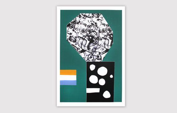 """Screenprint handmade original 40 X 60 cm green - ...  / """"Ville fleurie"""""""