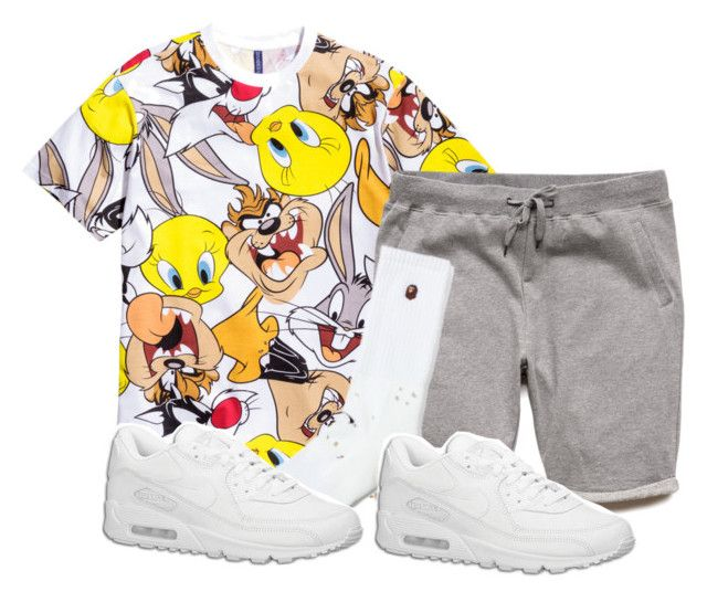 """Untitled #2139"" by dreakagotswagg ❤ liked on Polyvore featuring H&M, 21 Men, A BATHING APE and NIKE"