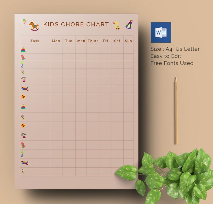 Chore Chart Template Word Templates For Every Need Budget Meal