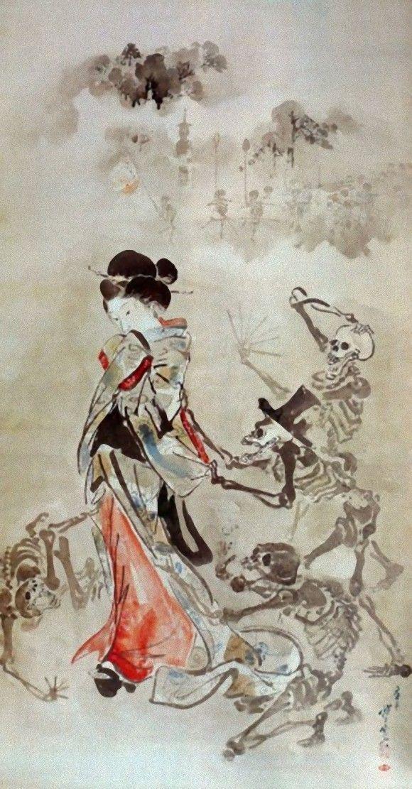 河鍋暁斎 「美女の袖を引く骸骨たち