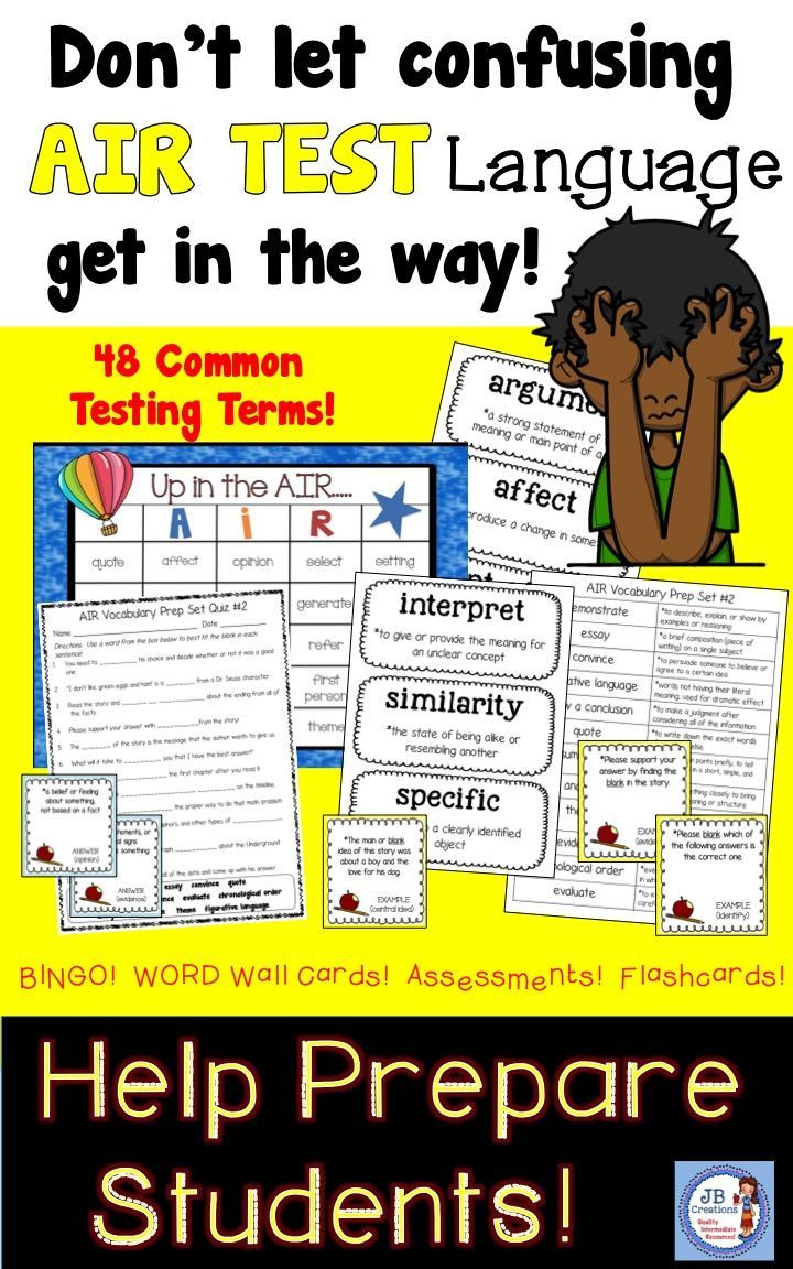 Give your students all the tools they need to be as successful as possible on the AIR STATE TESTS!  Reinforce over 48 key testing vocab terms by playing Bingo, creating a Testing Word Wall, practicing flashcards, and even taking practice assessments!  https://www.teacherspayteachers.com/Product/AIR-Test-Prep-Vocabulary-Bundle-3rd-6th-Grades-2895558