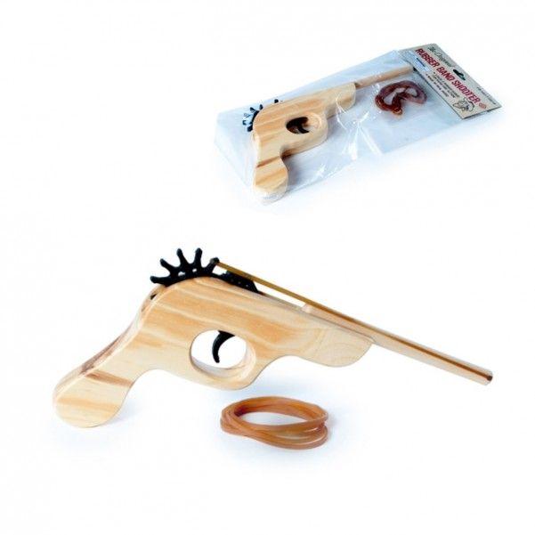 Halbautomatische Gummiband Pistole aus Echtholz mit Munition
