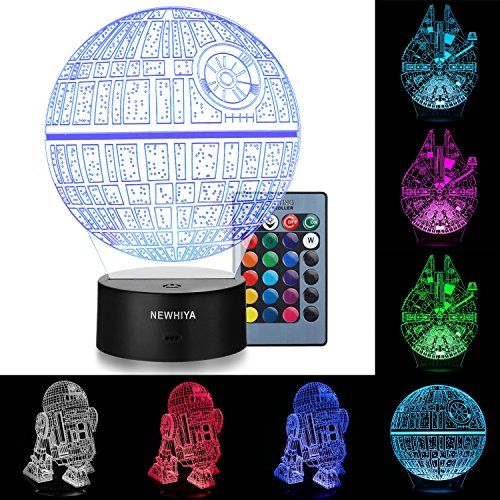 3D Illusion Star Wars Night Light, Three Pattern and 7 Color Change Decor Lamp - Perfect Gifts for Kids and Star Wars Fans - Package include :1 *Acrylic Plate(R2-D2)1 *Acrylic Plate(Death Star)1 *Acrylic Plate(Millennium falcon) 1 *ABS base1 *Remote control1 *USB cable1 *User manualPlease pay attention:Keep grease, water or other liquid away from the lamp.Do not put the lamp near the fire and throw into fire.Do not put...