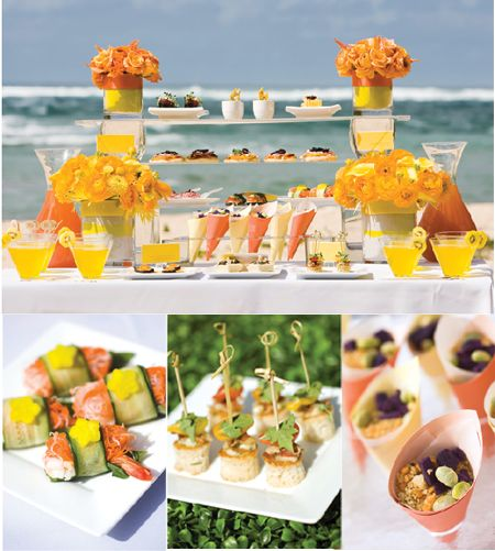 Beach Wedding Reception Food Ideas: Appetizers Display