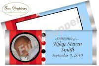 Blue and Red Candy Bar Wrapper Boy baby shower favor Boy Birthday party favor Boy birthday chocolate bar wrapper