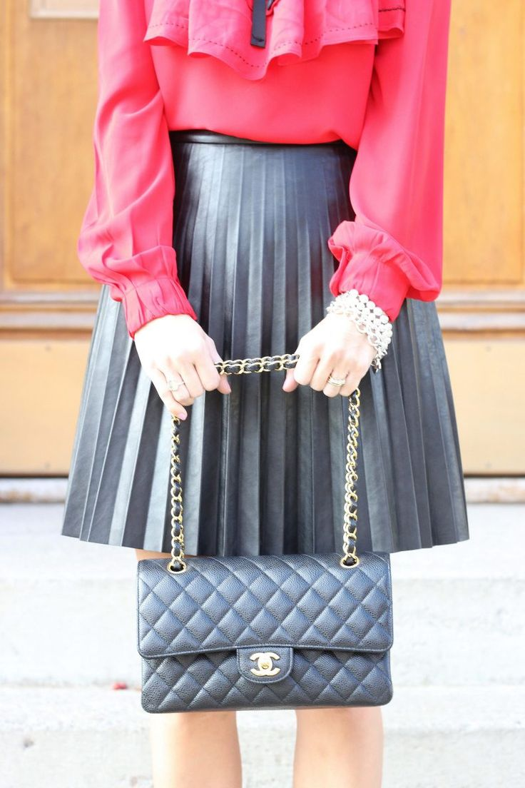 Holiday party look!  Pleated faux-leather skirt from J.Crew and Medium Chanel Flap Bag.