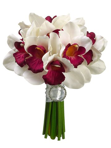 Cymbidium Orchid Wedding Bouquet in Cream Burgundy.jpg
