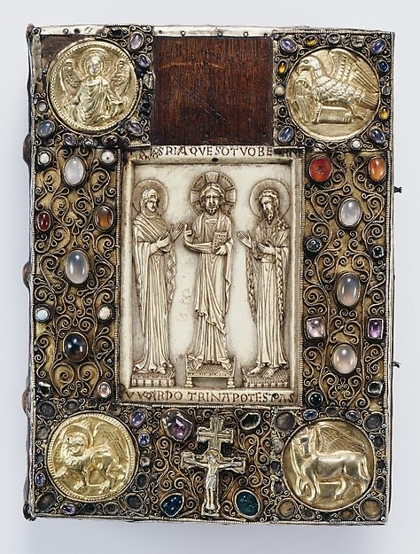 Precious Gospels of Bernward (front and back covers) Date: ca. 1015/refurbished ca. 1194 Culture: German (Hildesheim) Medium: Covers: silver, gilded silver with niello, filigree, semiprecious stones, and late 10th-century Byzantine (Constantinople) ivory on wood foundation; Manuscript: tempera, gold, and silver on parchment MET