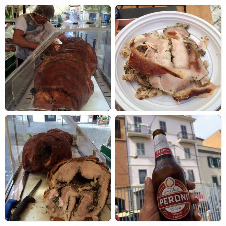 Porchetta - typical local mode of preparing pork - filled with rosemary and roasted..served cold... typical for this region.. FRASCATI (IT)