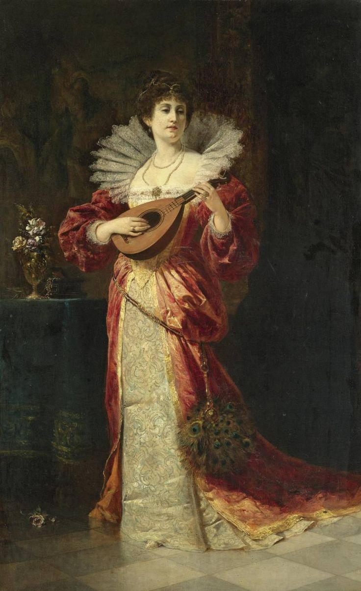 Lady with Lute (1877). Ferdinand Wagner II (German, 1847-1927). Oil on canvas