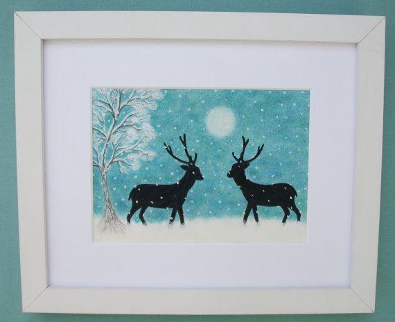 Kerst foto: Rendier sneeuw, Kerstmis kunst omlijst, rendieren Art tekening, foto van de sneeuw, kerstcadeau, Stag Tree Moon sneeuw, Kerstmis
