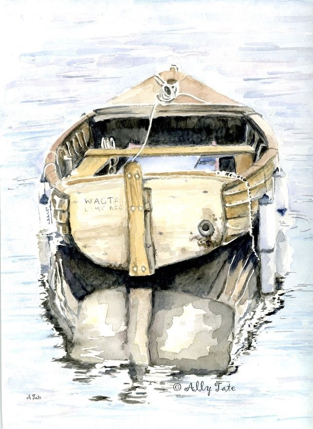 Print of watercolour Little boat of Lyme. by Ally Tate £15.99