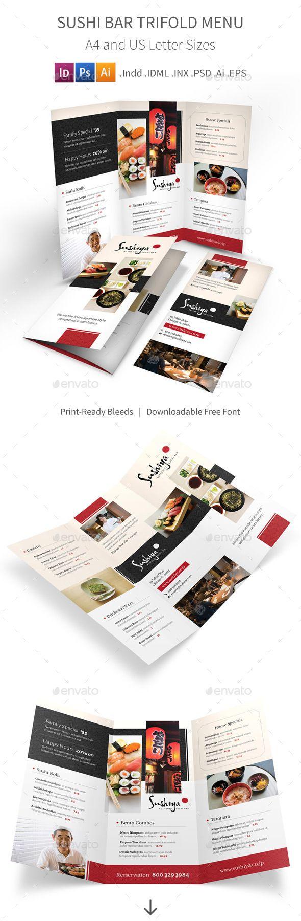 Sushi Bar Trifold Menu - Food Menus Print Templates