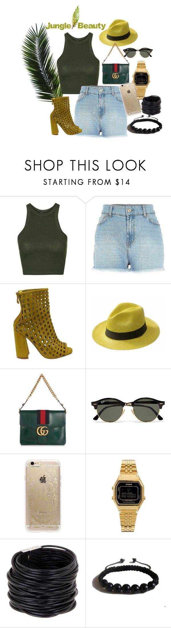 """""""Jungle Beauty"""" by slang-bait on Polyvore featuring Topshop, Ecua-Andino, Gucci, Ray-Ban, Rifle Paper Co, Casio, Saachi and Shamballa Jewels"""