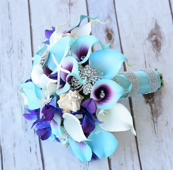 Purple Turquoise Blue Beach Brooch Silk Flower Wedding Bouquet Calla Lilies And Orchids Natural Touch Bridal