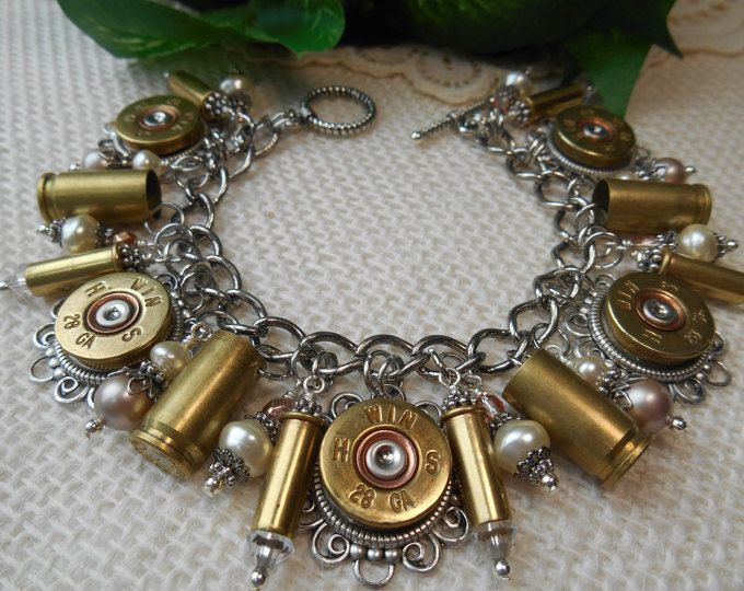 Bullet Jewelry ~ 28 Gauge Shotgun Shell Casings 9mm 22 Caliber ~ Pearls & Crystals Bracelet ~ Made in USA ~ Love of God and Guns