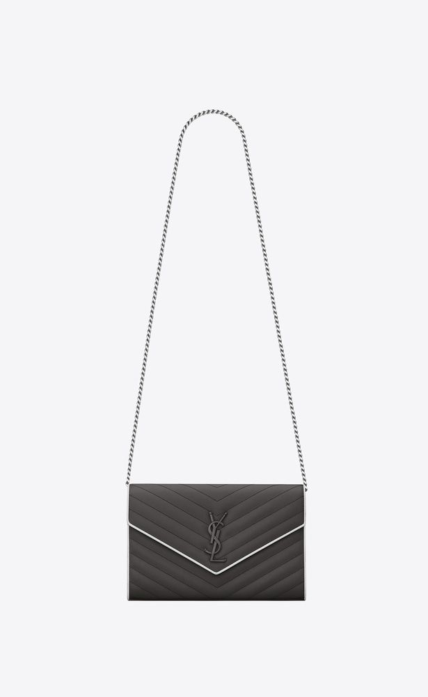 SAINT LAURENT Mini bags Matelassé Woman chain wallet in asphalt gray and  white textured matelassé leather a V4 b5c7751341497