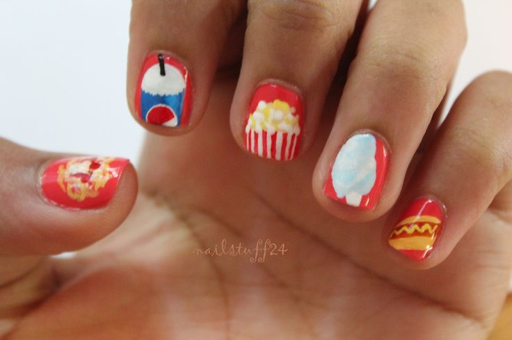 Carnival food nails! With funnel cake, soda, popcorn, cotton candy, and a hot dog