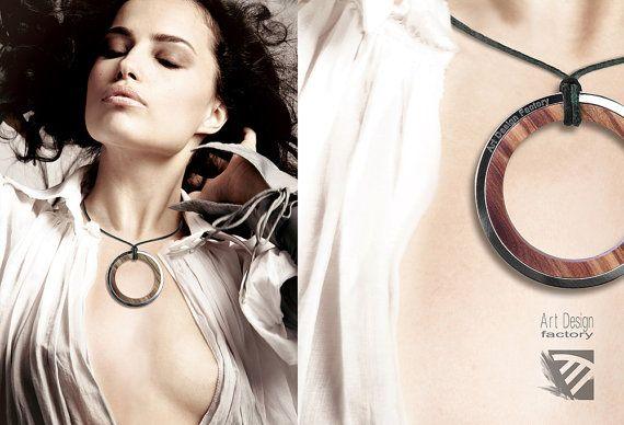 Dual pendente gioiello in acciaio e legno di ADFactoryStore #design #jewelry #fashion
