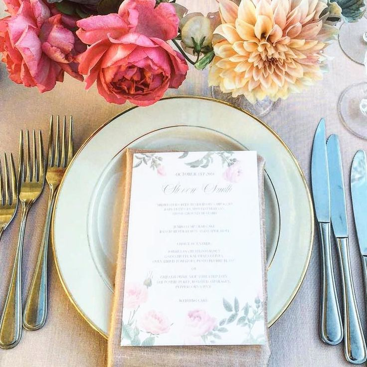 Floral Wedding Menu Table Setting featuring roses and a pastel color palette. California wedding menu with gorgeous calligraphy