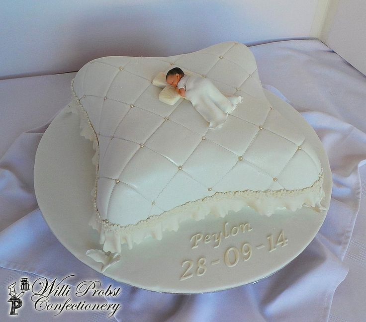 Pillow Themed Baptism Cake With Fondant Baby Topper