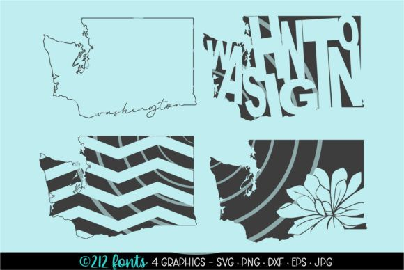 4 Washington State Map Graphics Graphic By 212 Fonts Creative Fabrica In 2020 Washington State Map State Map Graphic