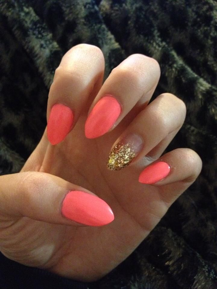 Stiletto nails in Flip Flop Fantasy with faded gold glitter accent nail <3