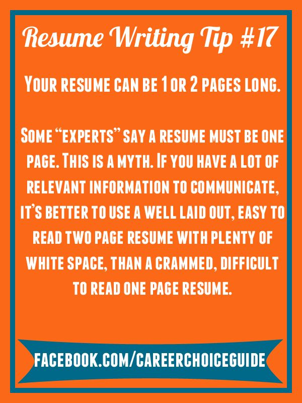 31 best Quick Job Search Tips from Career Choice Guide images on - Writing One Page Resume