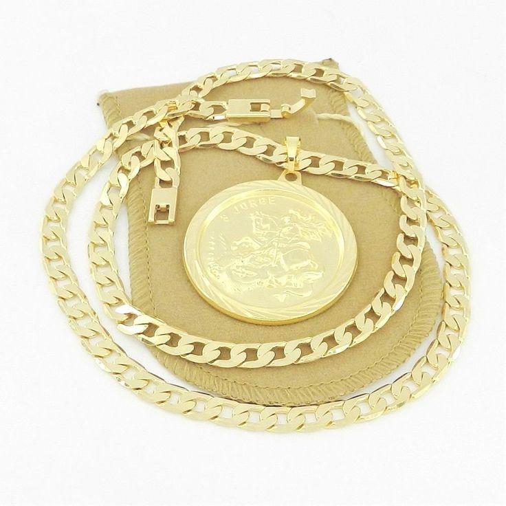 Corrente Masculina 70cm 6mm São Jorge 4cm Folheado Ouro CR127C