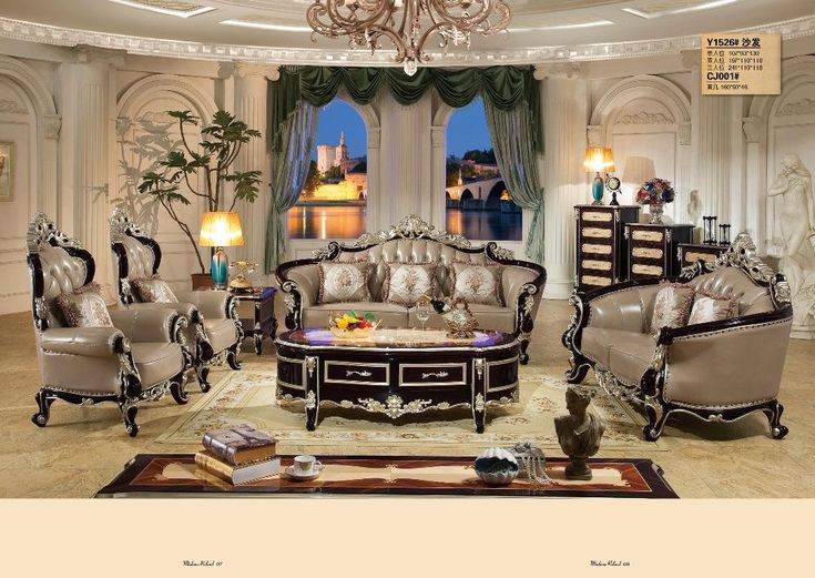 Leather Home Furniture Sofa Set Living Room With Solid Rubber Carving French Style