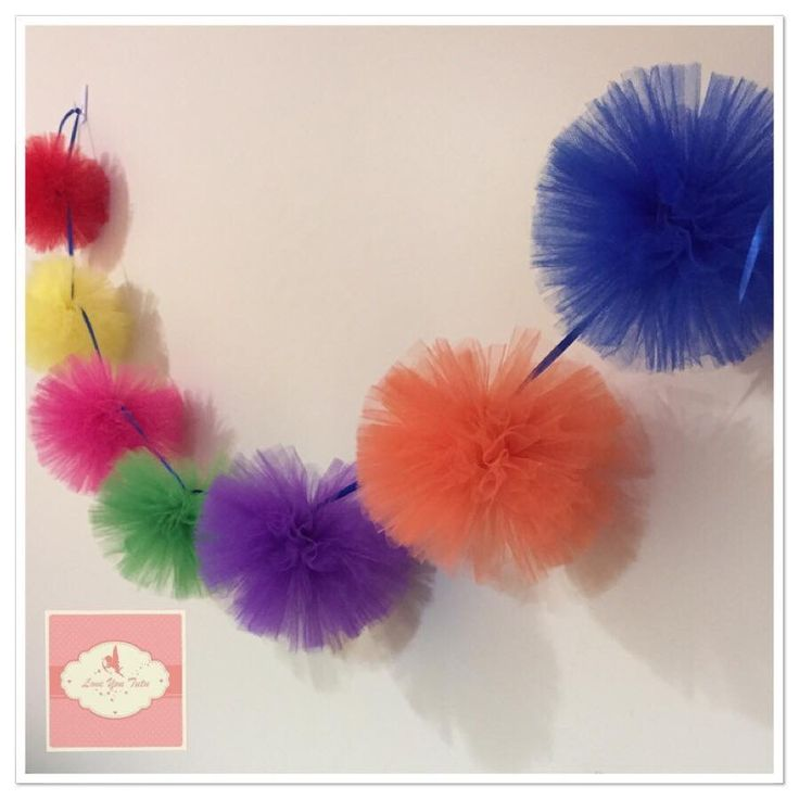Rainbow tulle pom pom bunting Custom made in your choice of colours Handmade with love www.loveyoututu.com.au #loveyoututu #australianmade #bunting