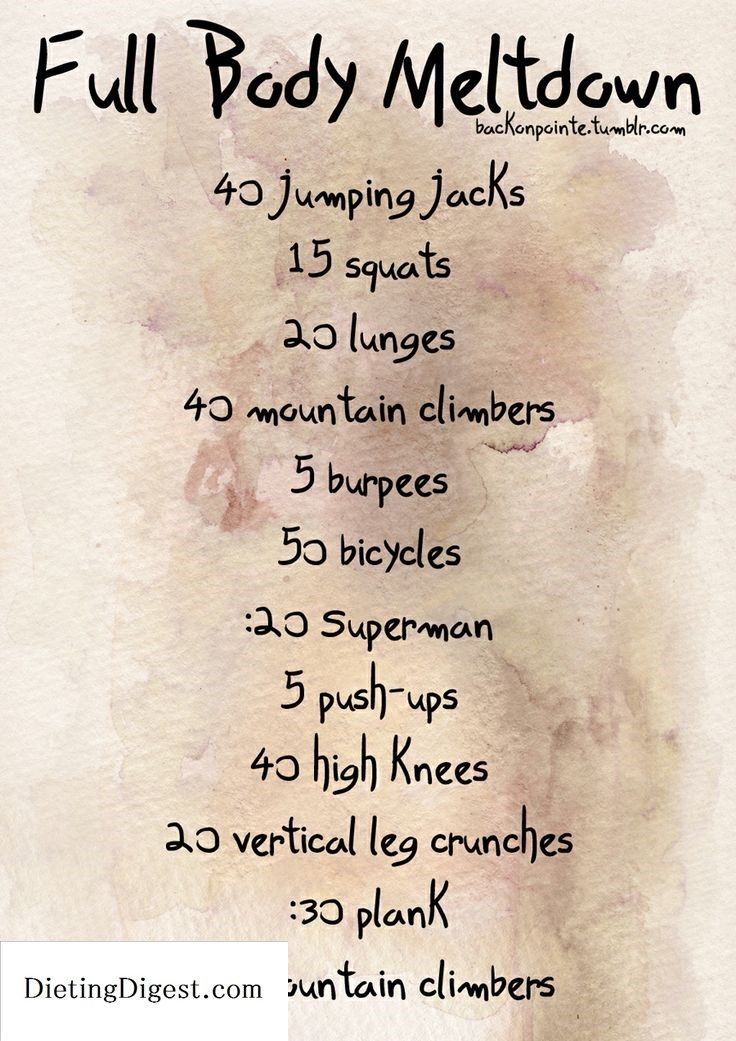 Did this circuit 3x and I was dripping sweat!!! - changed it up just a tiny bit (i.e. 20 squats, some wide legs/some regular, :30 superman, arms out for high knees, diff. stuff for vertical leg crunches, high/lo plank) Check out Dieting Digest