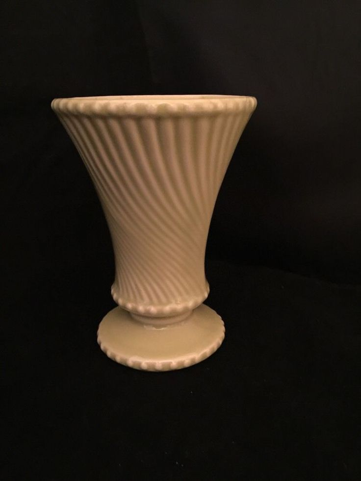 """Vintage McCoy Pottery Vase Yellow Green REtro Swirl and Wave Designed Bead 6""""h"""