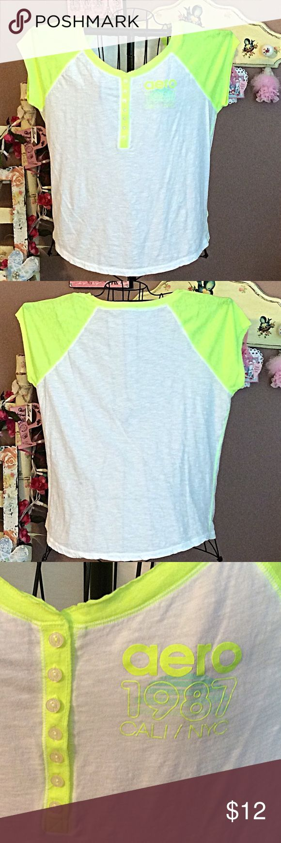 Aero Henley tee NWOT 👚👚 Aeropostale neon yellow and white Henley tee NWOT Aeropostale Tops Tees - Short Sleeve
