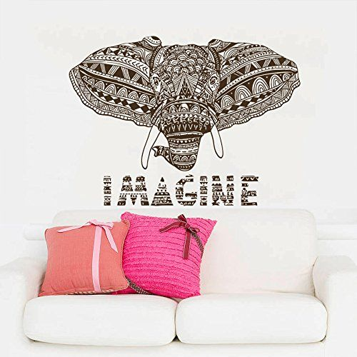 Wall Decals Indian Elephant Ganesh Om Imagine Mandala Tribal Karma Yoga Bedroom Dorm Vinyl Sticker Wall Decor Murals Wall Decal: Amazon.co.uk: Kitchen & Home