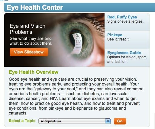 web MD | WebMD Eye Care Center: Eye Health Overview | Kim Truman Fitness