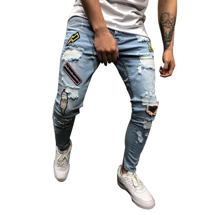 Buy 3 Color New Men Trousers Stretchy Ripped Skinny Jeans Destroyed Hole Slim Fit Denim High Quality Mens Pants Jean Vaqueros Hombre at Wholesale Price. Free or Lowcost Worldwide Shipping. And large of options in our best Jeans category with cheapest price on Pricetug.com Ripped Biker Jeans, Jeans Denim, Destroyed Jeans, Skinny Jeans Casual, Super Skinny Ripped Jeans, Slim Fit Joggers, Slim Fit Trousers, Men Trousers, Jean Hippie