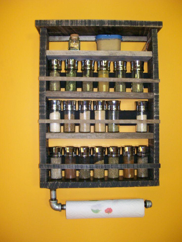 Handmade Spice Rack Vintage Style Industrial Black Shelves