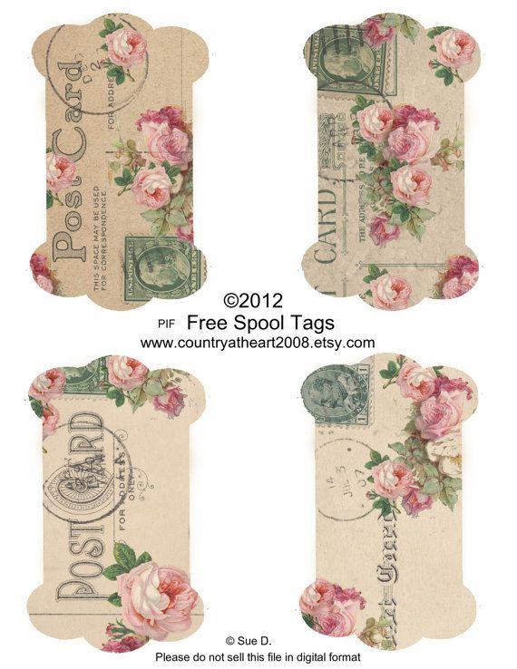 Bobina etiquetas y etiquetas de color de rosa - PIF - pagan adelante - hoja imprimible de Collage Digital - Scrapbook - suministros