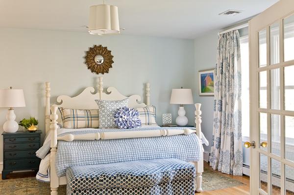 Katie Rosenfeld Design: Bedside Lamp, Blue Color, Blue Bedrooms, Master Bedrooms, Bedrooms Inspiration, Bedrooms Blue, Cream Bedrooms, Bedrooms Sanctuary, Beautiful Bedrooms