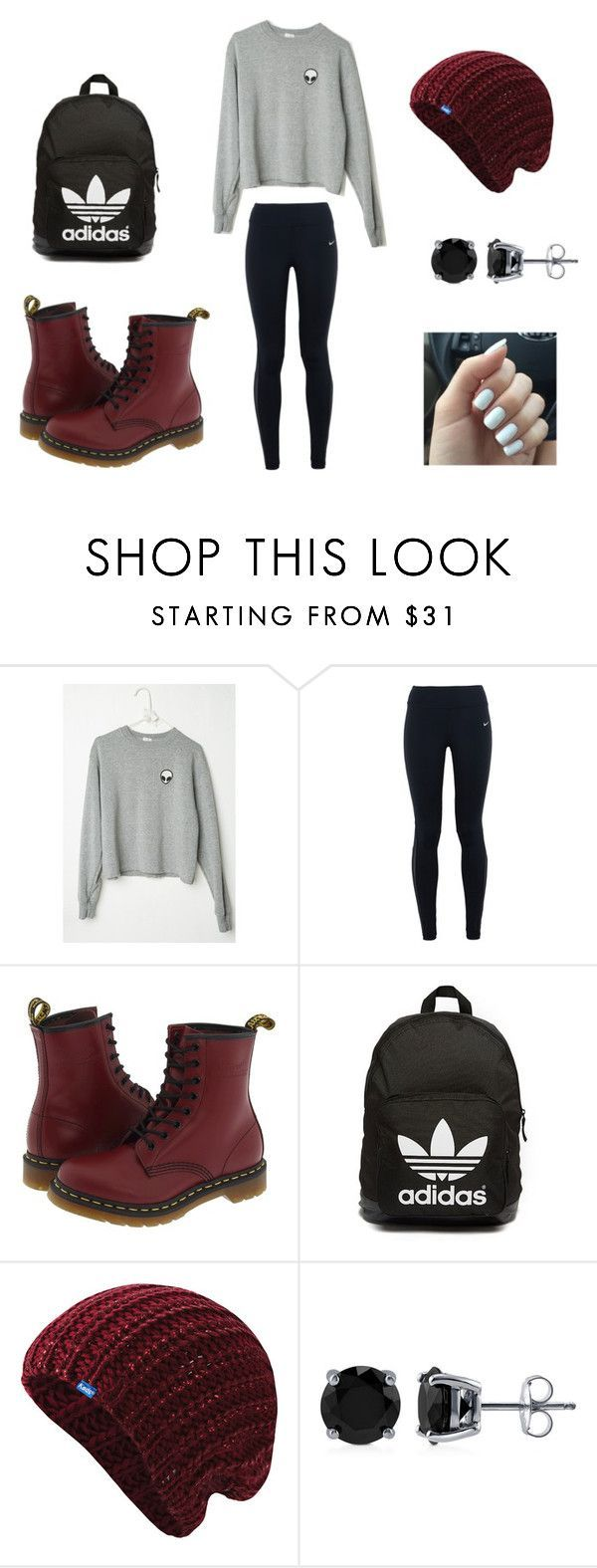 """""""Hipster/Urban School Outfit"""" by vickerygk on Polyvore featuring NIKE, Dr. Martens, adidas Originals, Keds, BERRICLE, women's clothing, women's fashion, women, female and woman"""