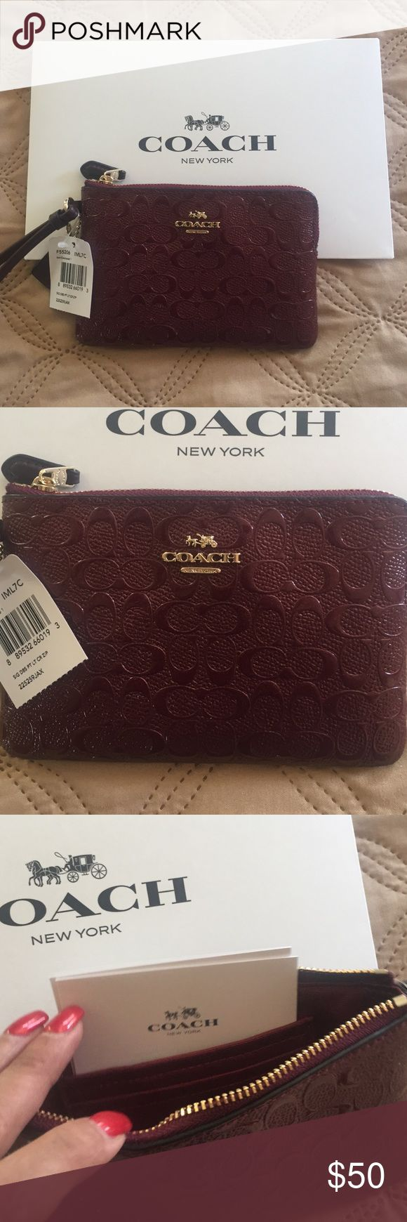 A beautiful Coach wristlet A brand new Coach wristlet, beautiful merlot color Coach Bags Clutches & Wristlets