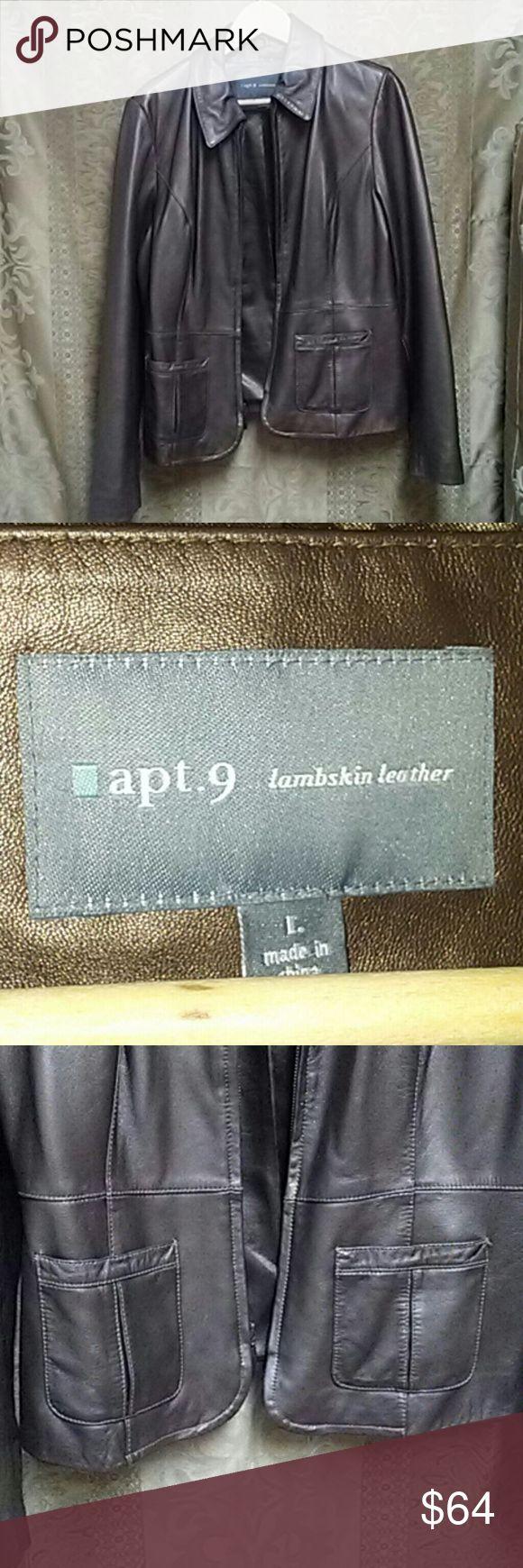 Lambskin leather jacket Luxurious lambskin,  copper colored, zipper closure, leather jacket, Size Large Apt. 9 Jackets & Coats Blazers