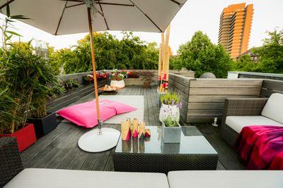 Loungemöbel- Sonnenschutz- Sichtschutz-Pflanzen- Bambus- Sitzsack